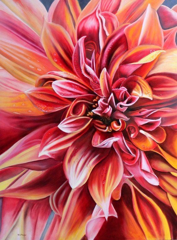 Red Dahlia Orange Dahlia Flower Art Fine Art Print Realism Painting Artwork For Sale Realism A Flower Painting Flower Art Simple Oil Painting