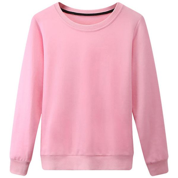 Womens Plain Round Neck Long Sleeve Pullover Sweatshirt Pink ($15 ...