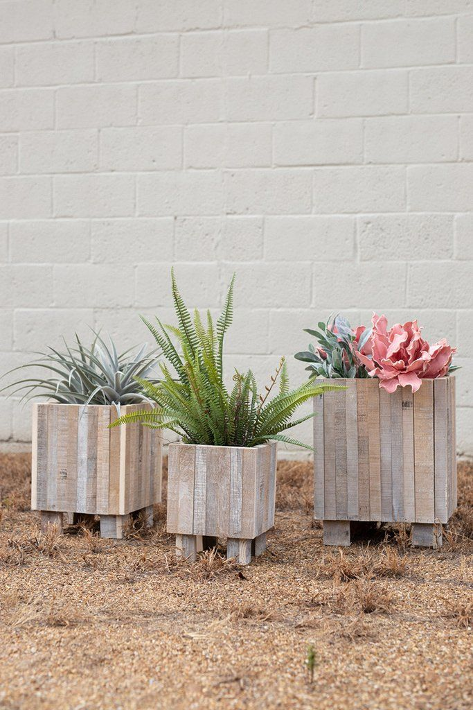 Kalalou Set of 3 Recycled Wood Tall Square Planters - White Washed