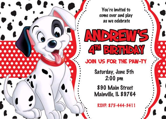 101 Dalmatians Birthday Party Invitation Digital File 101