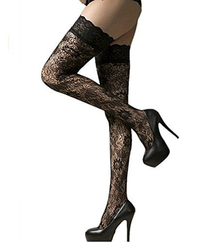 bd647a7e3d1 CHRISTYLE Women Sexy Sheer Mesh Floral Lace Stay Up Hold-Ups Pantyhose Long Thigh  High Stocking Tights