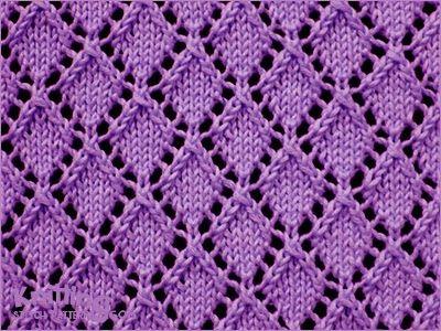 Diamond Pattern Knitting : Openwork Diamonds - Lace knitting pattern Knitting Stitch Patterns Pinter...