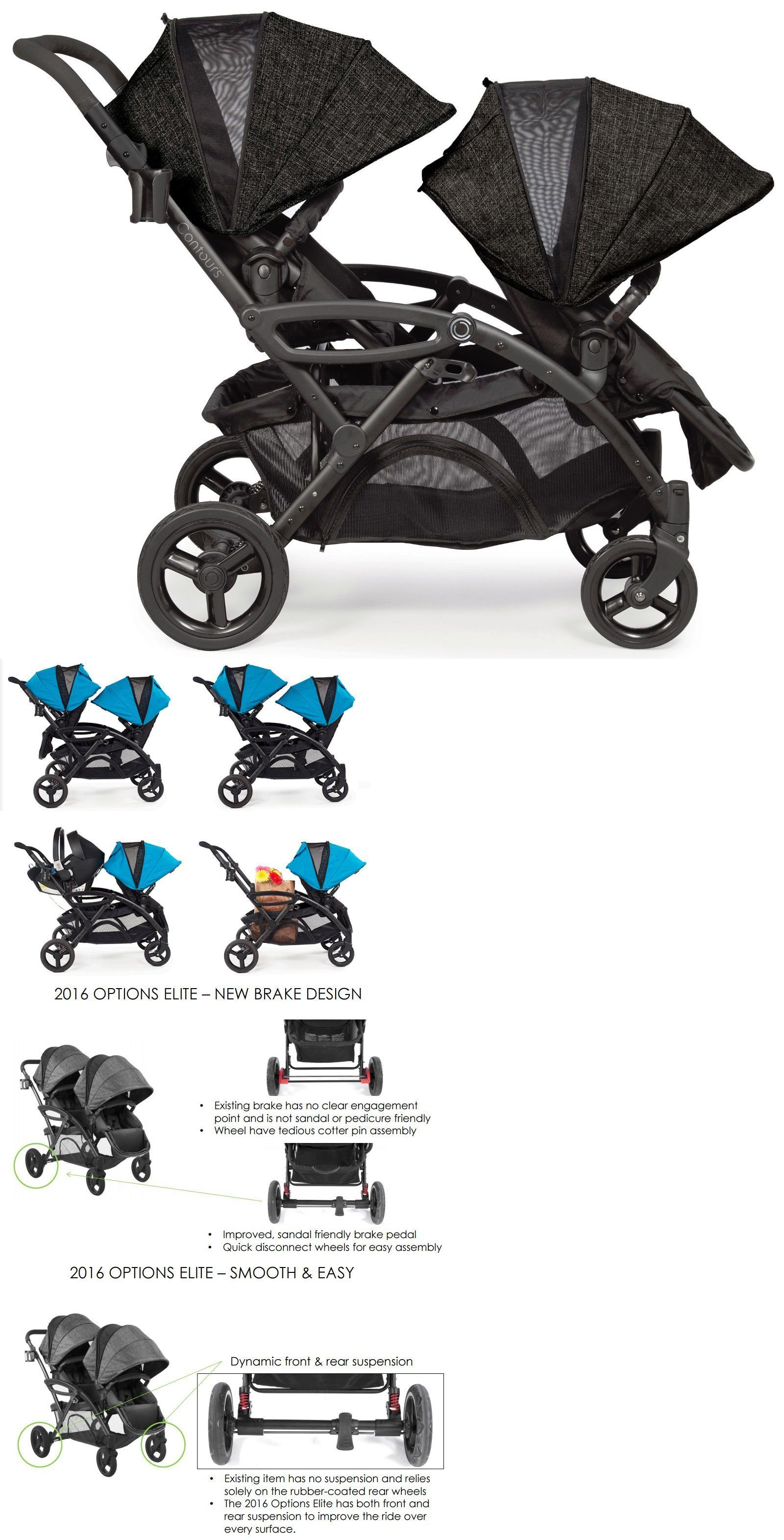 Other Baby Safety and Health Contours Options Elite Twin Tandem Double Baby Stroller Carbon