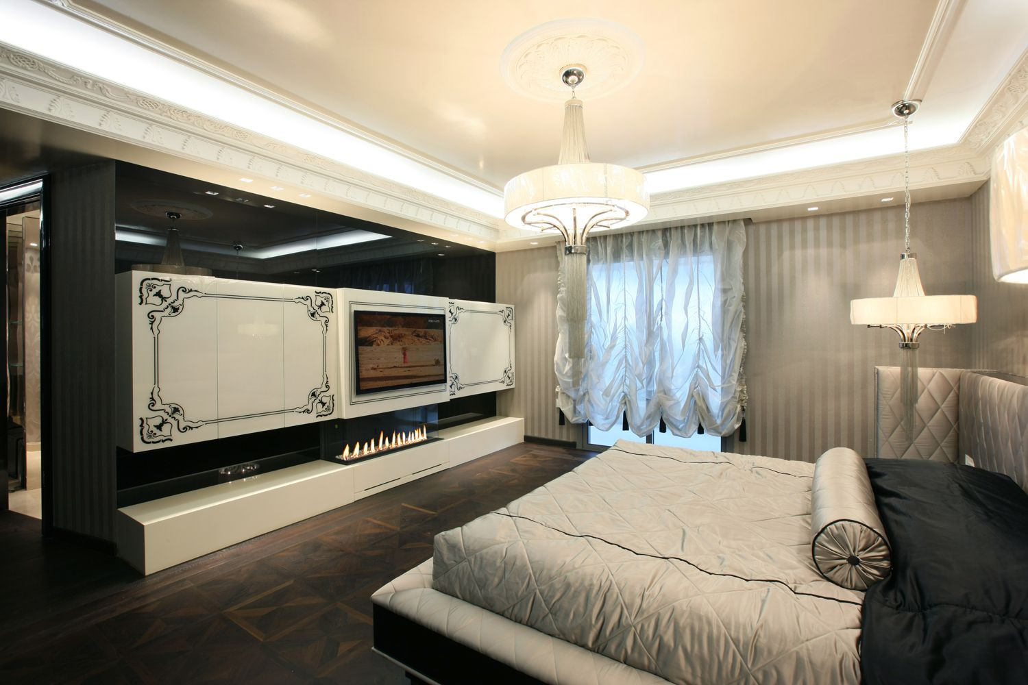 luxury modern bedroom...back painted glass with engrooved ...