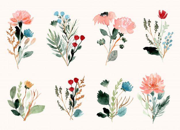 Blumenstrauß-aquarellansammlung Der Wilden Blume