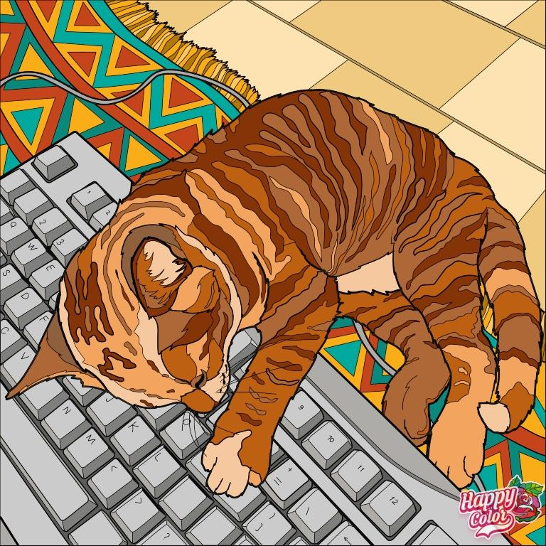 Coloring The Cat ระบายส แมว In 2021 Cat Painting Colorful Art Happy Colors