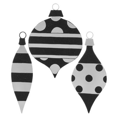 Raz Large Flat Ornaments Set Of 3 3 Assorted Styles Set Includes One Of Each Style Black Whi White Ornaments Black White Christmas Tree White Christmas Trees