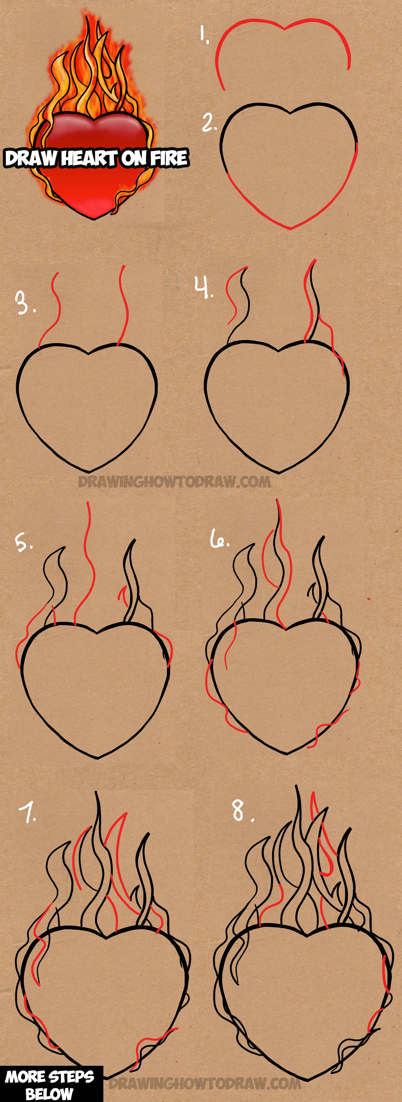 Learn How To Draw A Heart On Fire With Flames With Easy Steps Drawing Lesson