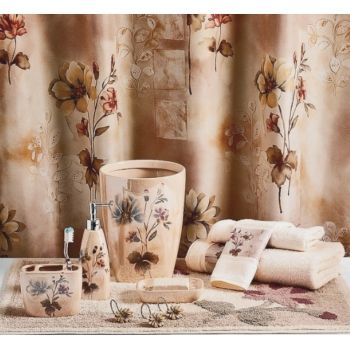 Romance Rose Floral Shower Curtain And Bath Accessories Bright - Floral bathroom accessories set for bathroom decor ideas