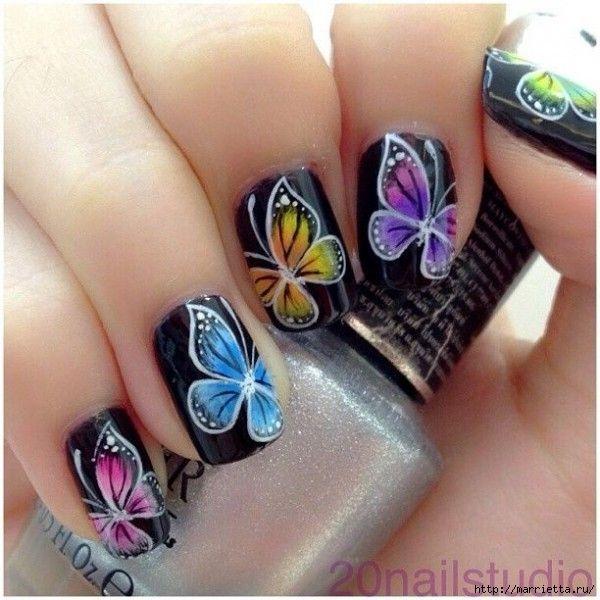 Как нарисовать бабочку на ногти фото