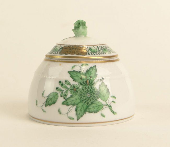 """Herend Porcelain Mustard Pot with Lid in the """"Chinese Bouquet-Green"""" Pattern."""