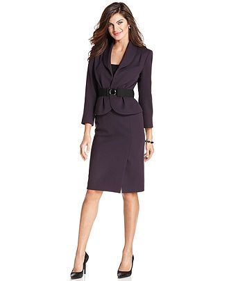 Tahari By Asl Suit Shawl Collar Belted Jacket Skirt Womens