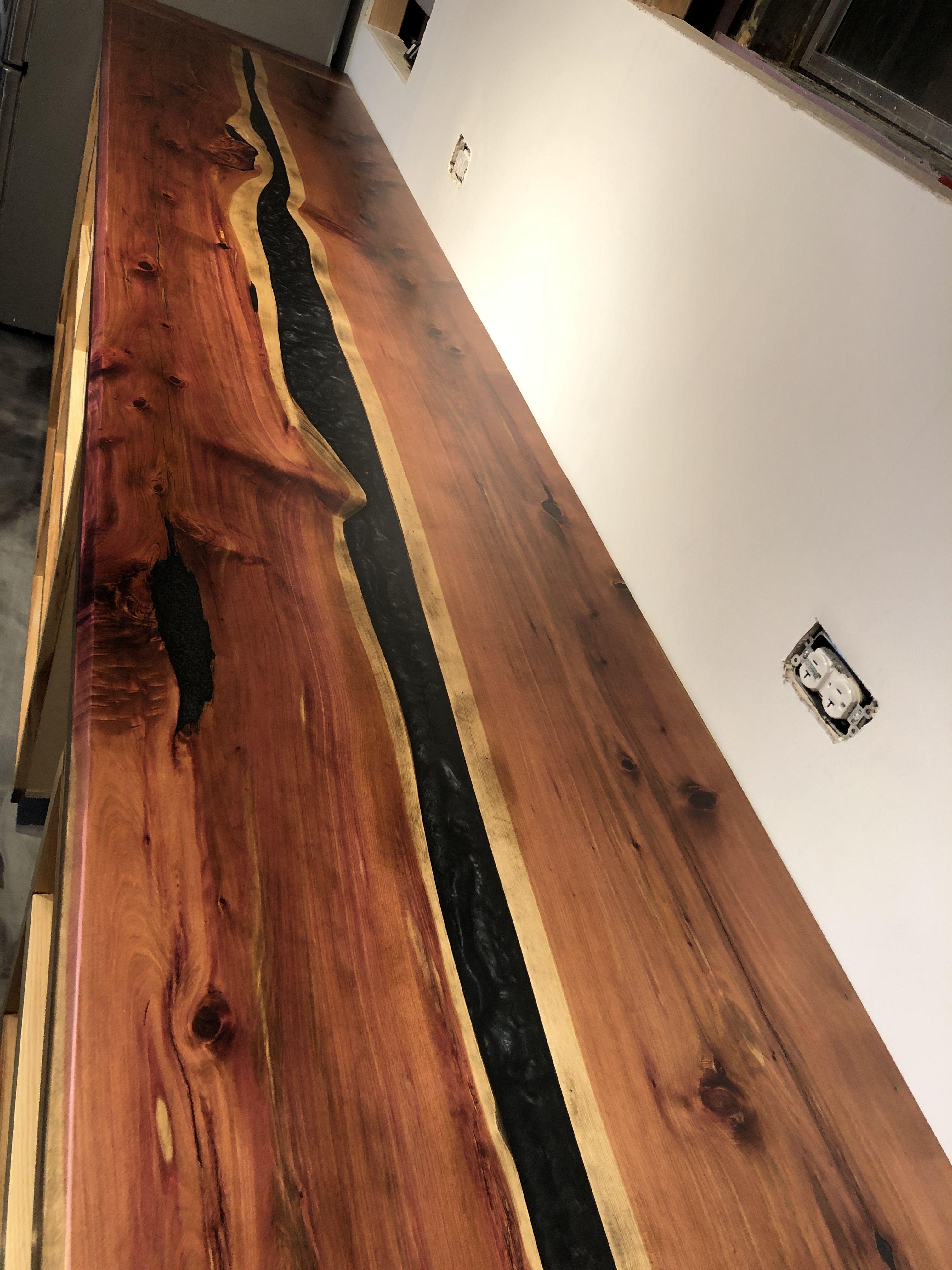 Epoxy River Cedar Countertop Diy Office Desk Diy Office