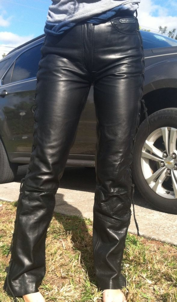 aaeba6a9f5a RARE HARLEY DAVIDSON Vintage Leather Pants Womens Lace Up SIZE S Black 5  pkt  HarleyDavidson