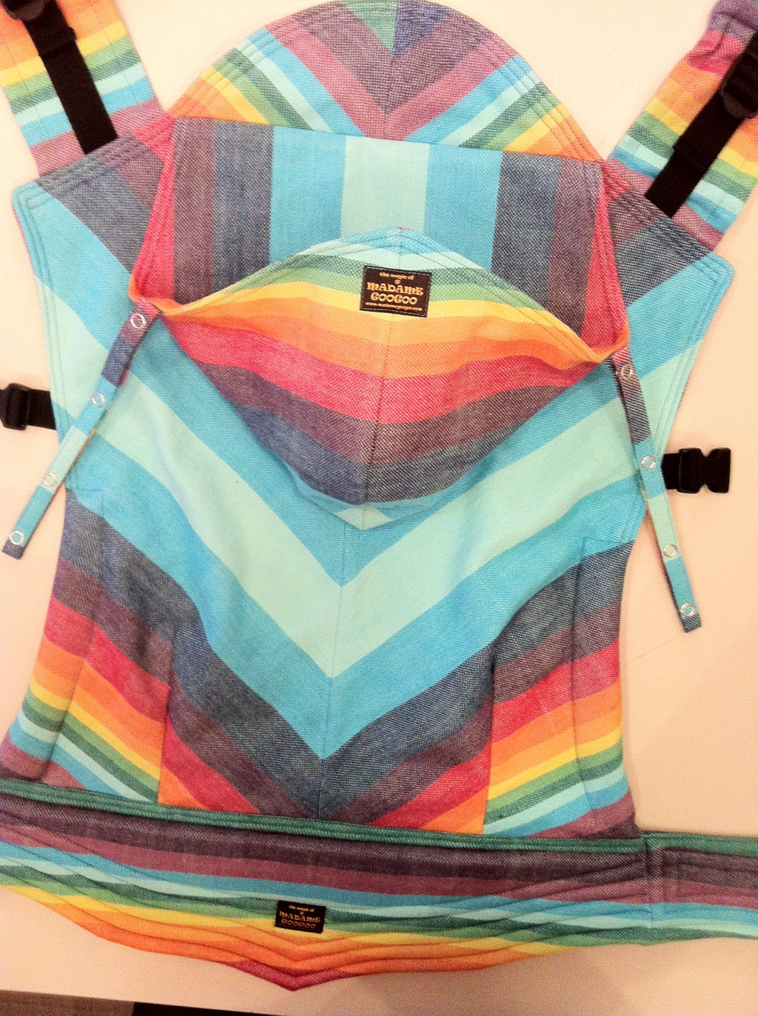 Madame Googoo Carrier Made From Girasol Double Rainbow Dream Baby