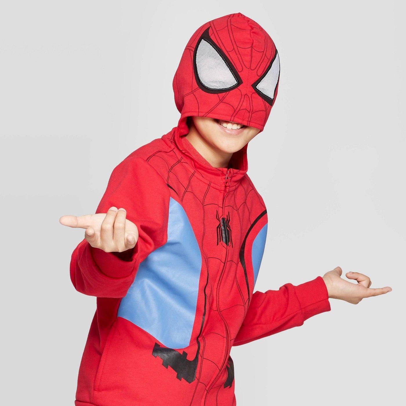 Boys Spider Man Costume Fleece Sweatshirt Red Sweatshirt Fleece Mens Costumes Sleeves Pattern [ 1400 x 1400 Pixel ]