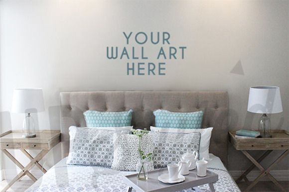 What A Beautiful Bedroom Stage Your Designs On The Wall With This Art Mock Up By UpStyled Creative Market