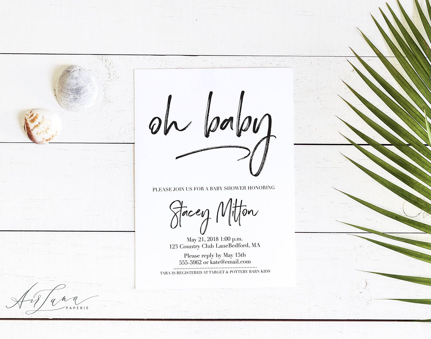 Oh Baby Invitation, Elegant Baby Shower, Simple Baby Shower ...