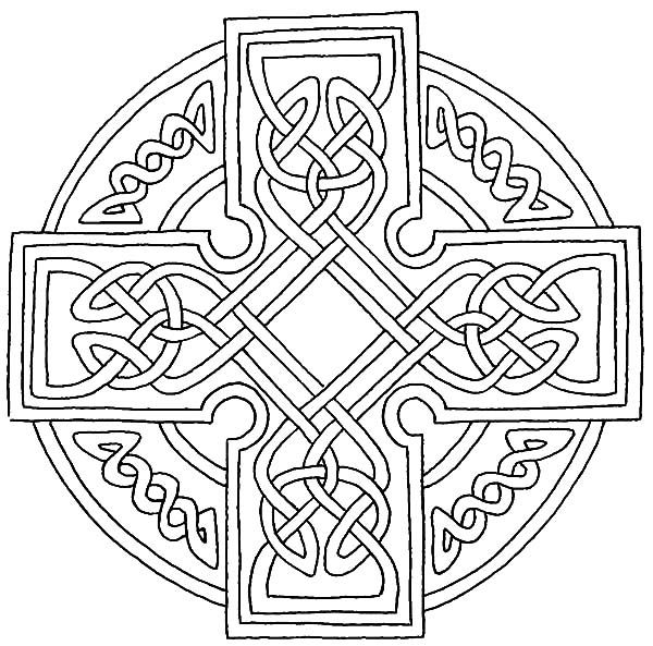 Celtic Cross Combined Ring And Coloring Pages