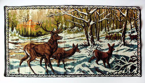 Vintage Ramallah Trading Co N Y Deer Snow Scene Tapestry Italy 1965 Forest Tapestry Vintage Deer Tapestry Wall Hanging