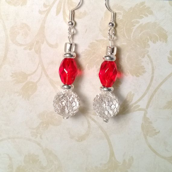 Holiday Red & Silver Net Earrings by NJMMJ on Etsy, $5.00