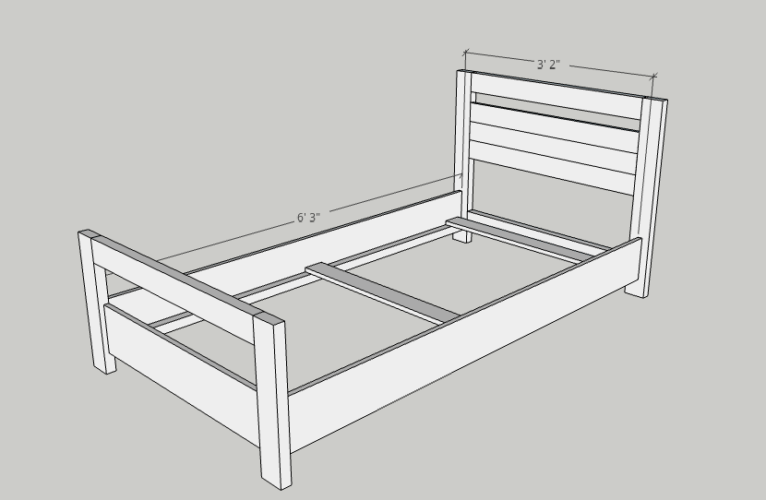 Diy Basic Twin Bed In 2020 With Images Diy Twin Bed Diy Kids Bed Twin Bed