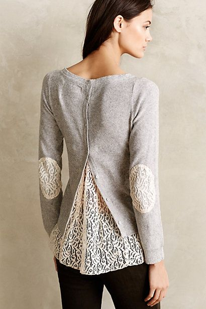 This would be easy to refashion. Cardigan backwards (might have to alter the neckline a smidge), add lace inserts. Bonus for reclaimed lace curtains/tablecloth.