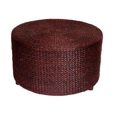 Oriental Furniture Rush Grass Coffee Table/Ottoman in Red Brown ...