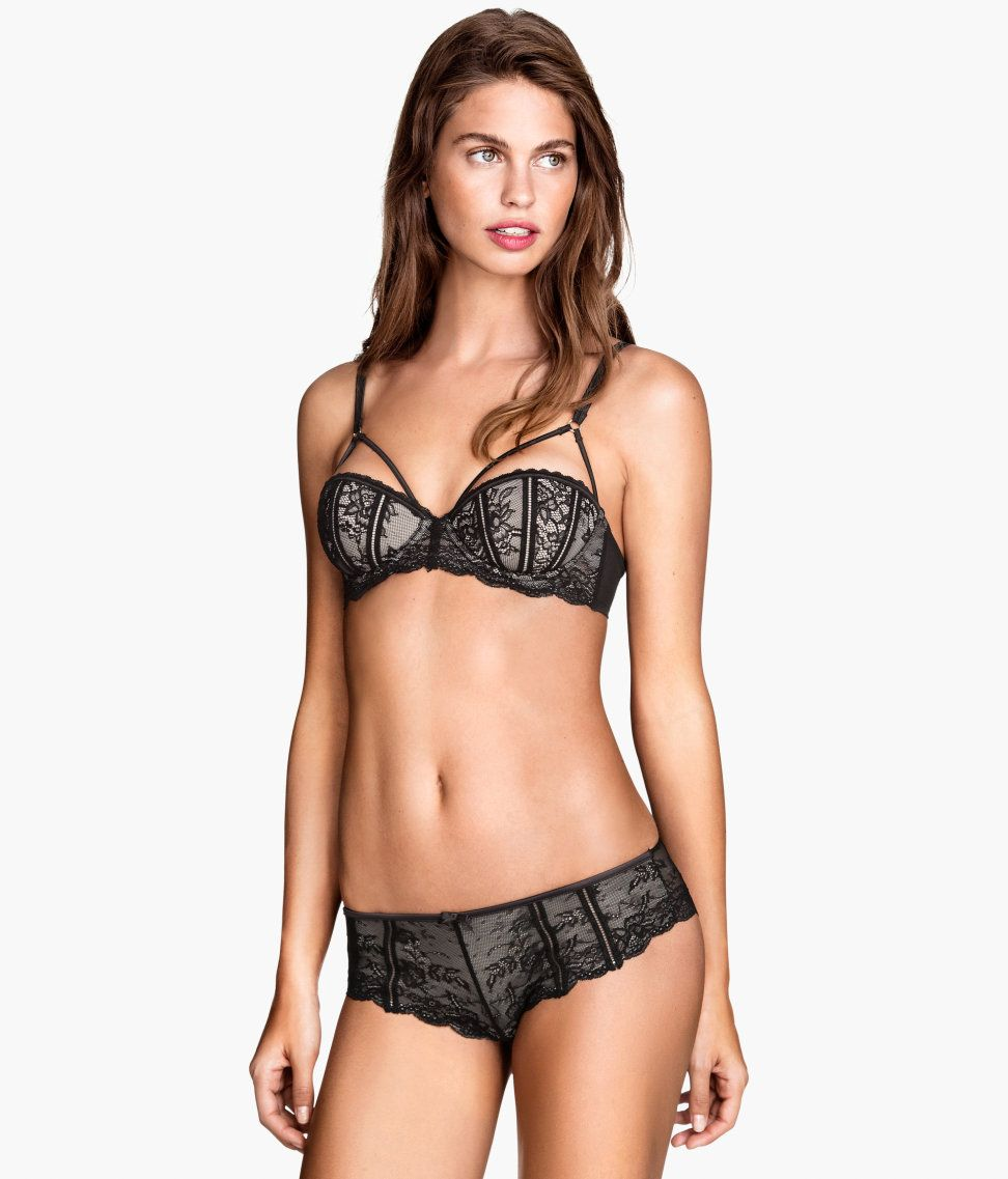 9e505e0dd Matching black lace hipster briefs and balconette bra with decorative  straps.