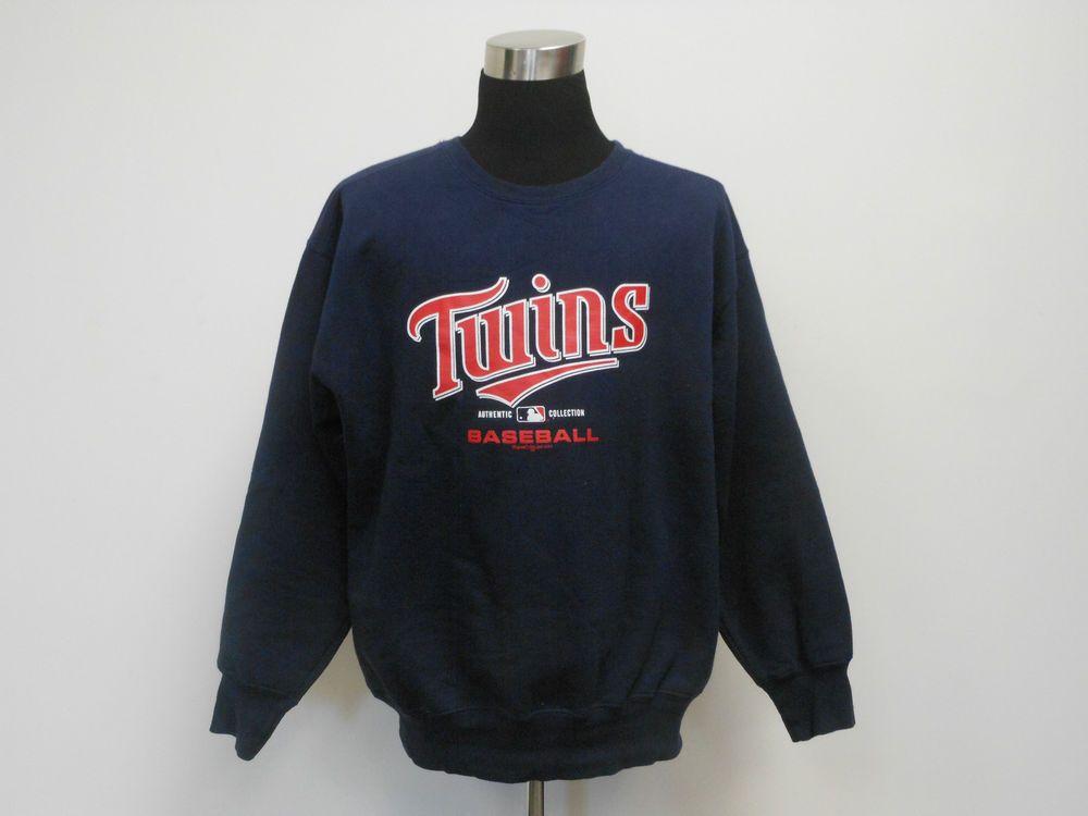 Mens Majestic Minnesota Twins Crewneck Sweatshirt size L Large Mauer MLB AL #Majestic #MinnesotaTwins  #tcpkickz