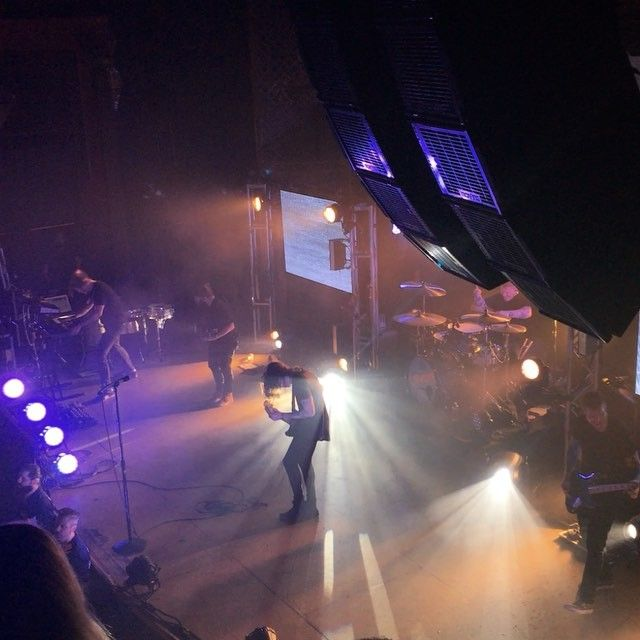 Underoath & Caspian performed on Sunday at Ogden Theatre - there's Aaron in the back