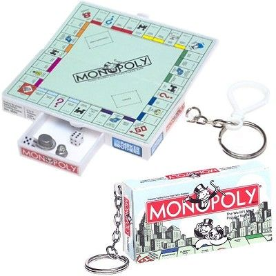 VINTAGE MONOPOLY GAME BOARD Keychain Keyring Silver Charm Party Favor Key Chain