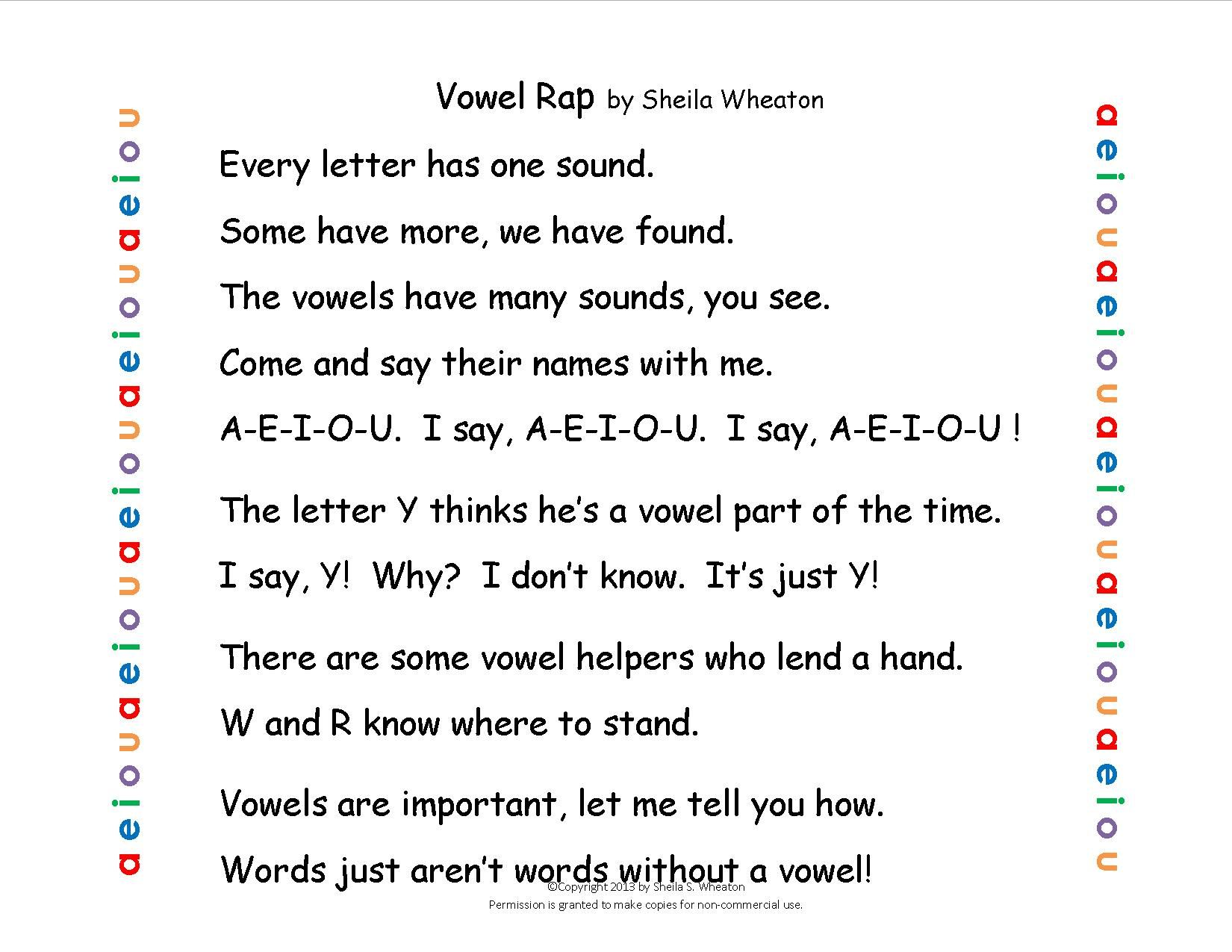 Vowel Rap Chant To Help Remember Vowels A E I O U And
