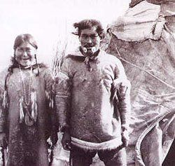 Avumnuk (with elaborate Labrets) and his wife on Herschel Island - Inuvialuit - circa 1890