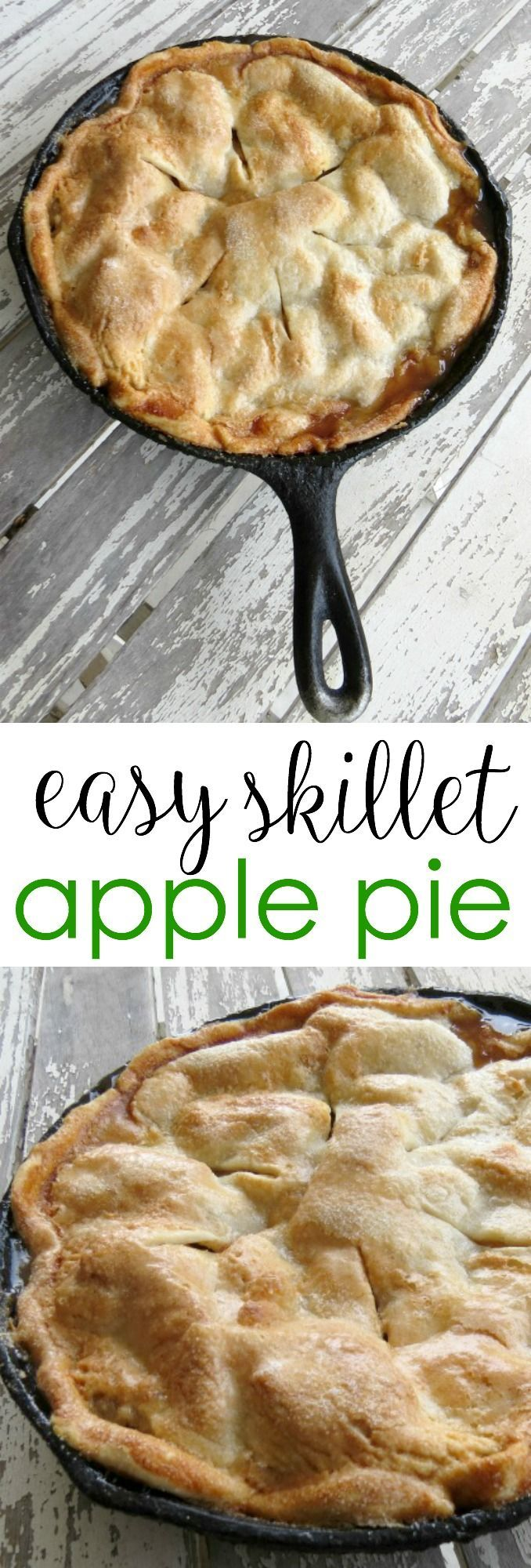 Easy Skillet Apple Pie is part of Skillet desserts - Surprise your family with this easy skillet apple pie recipe  It's baked in a cast iron skillet and covered in a sweet and flaky sugar and cinnamon crust