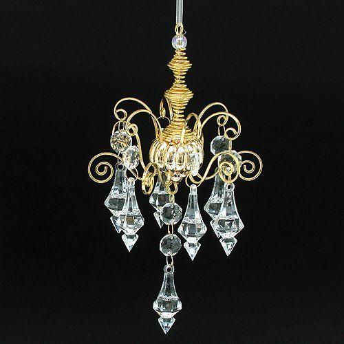 Gold Chandelier Crystal Beaded Christmas Ornament: Home