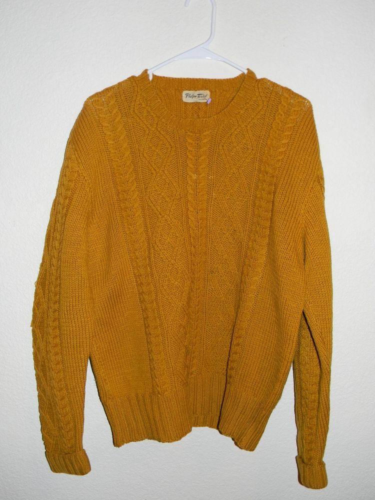 Phelps Terkel Ca Vintage Mustard Yellow Retro Men S Knit Sweater Size Xl Phelpsterkel Cardigan Mens Knit Sweater Men S Knit Vintage Sweaters