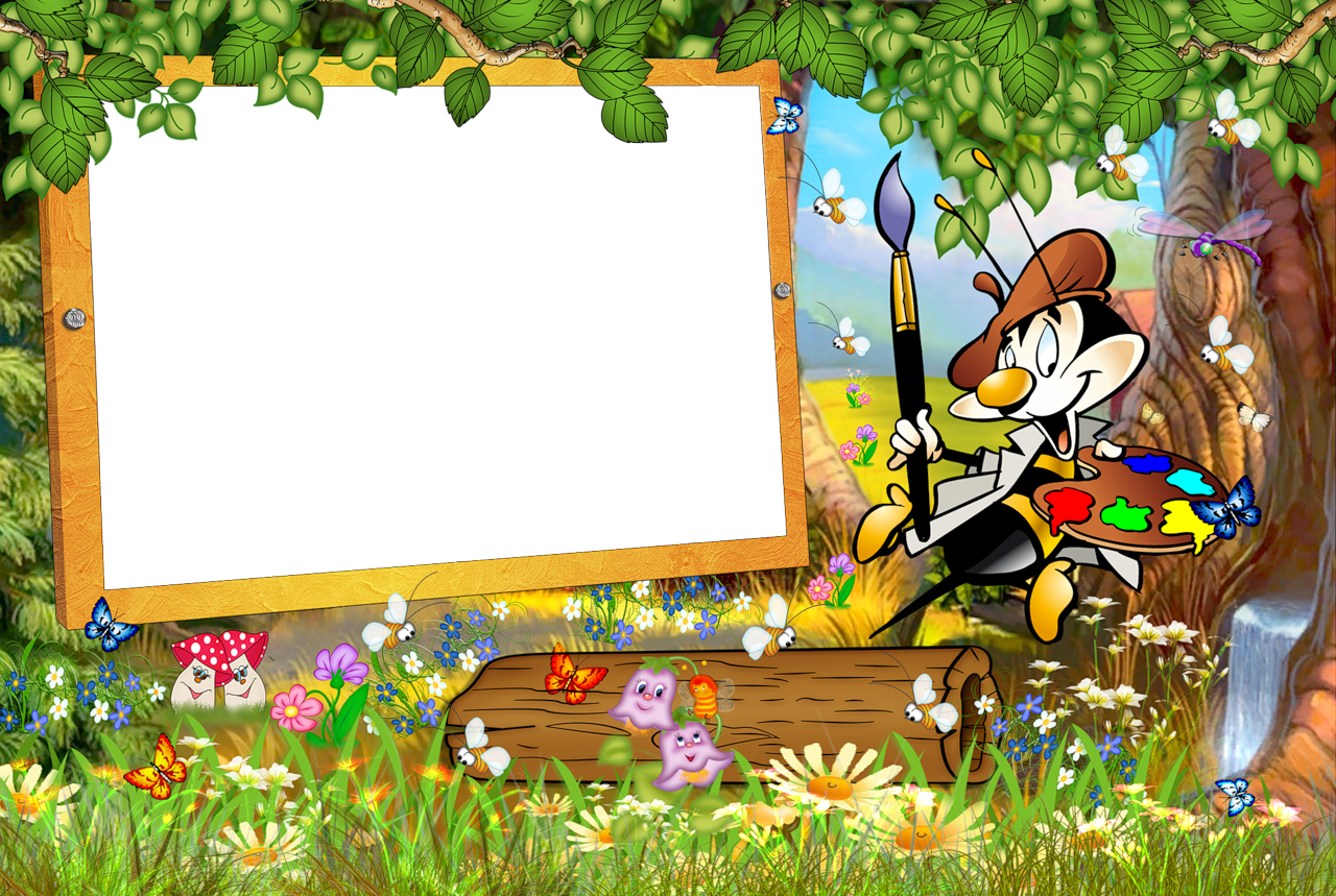 Pumba And Timon Transparen Kids Png Photo Frame: Kids Transparent Frame With Cartoon Painter