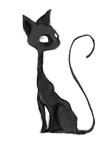 gato negro | (ᵔᴥᵔ) animales ilustrados (ᵔᴥᵔ) (ilustrated ...