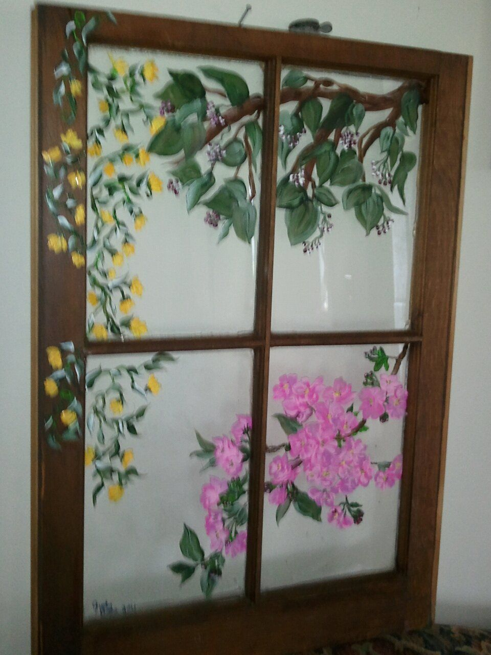Vines And Flowers Window Art Painting Frames Window Painting
