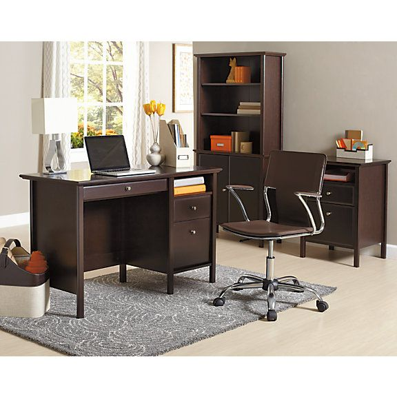 Realspace Chase Desk 30 H X 47 W X 21 58 D Dark Chestnut By Office Depot Officemax Desk Home Apartment Decor