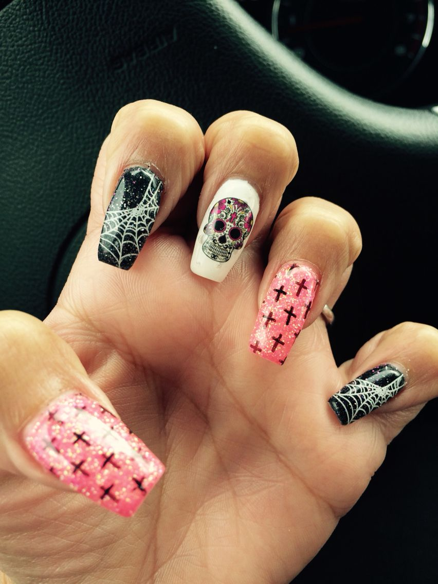 Sugar Skull Nail Art Diadelosmuertos Beautify Yo Self Pinterest