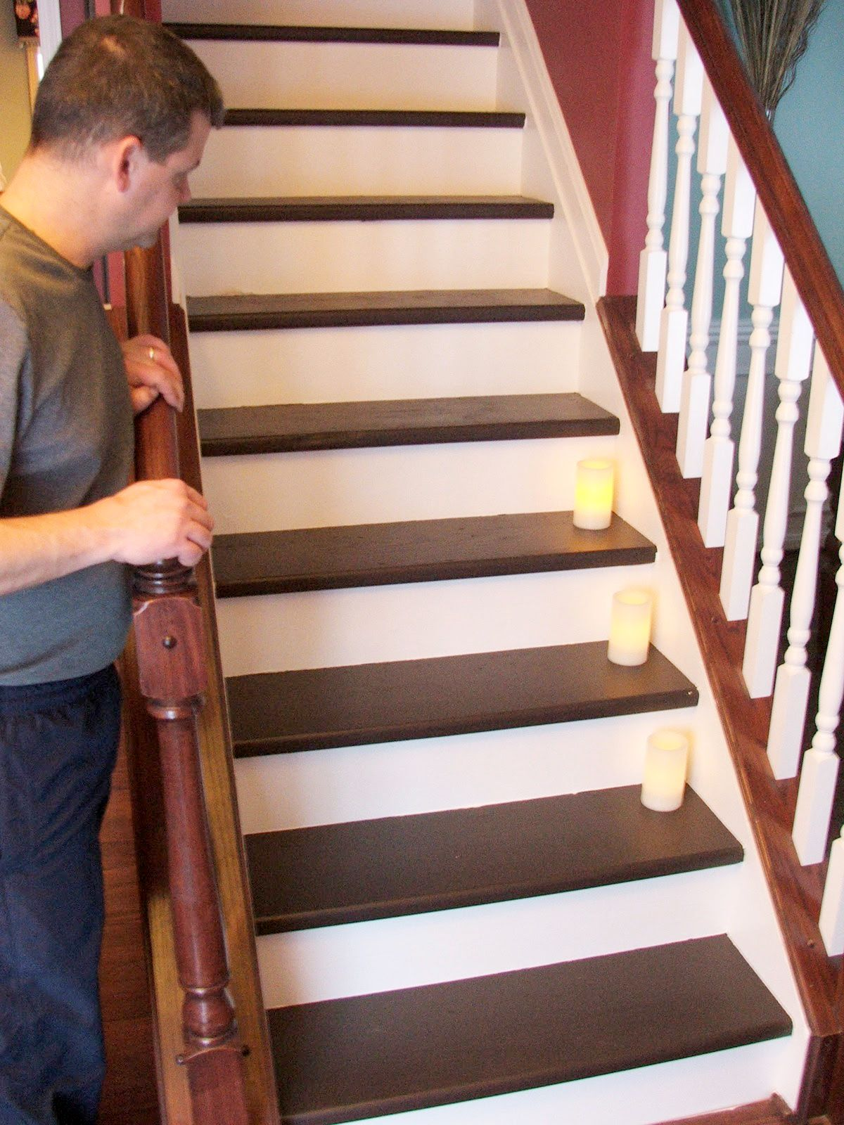 Under 100 carpeted stair to wooden tread makeover diy for Diy staircase makeover