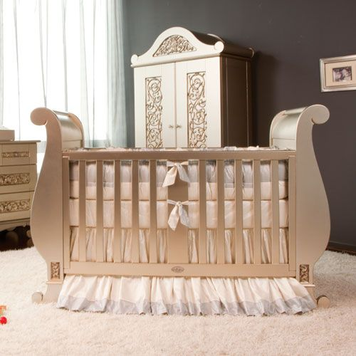 Chelsea Sleigh Crib In Antique Silver Cribs Baby Furniture