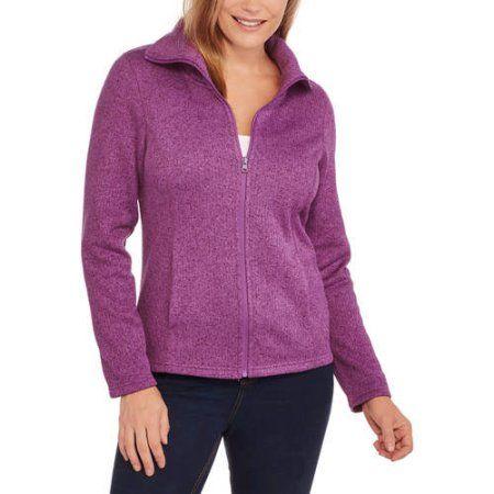 Faded Glory Women's Sweater Fleece Jacket, Size: Medium, Purple