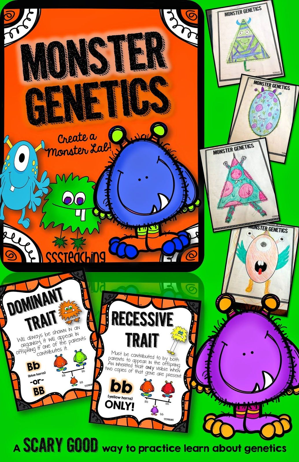 Monster Genetics Traits Heredity And Fun All In One Genetics Lesson Teaching Biology Genetics Activities