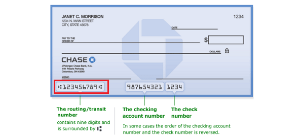 what is the account number on a chase check
