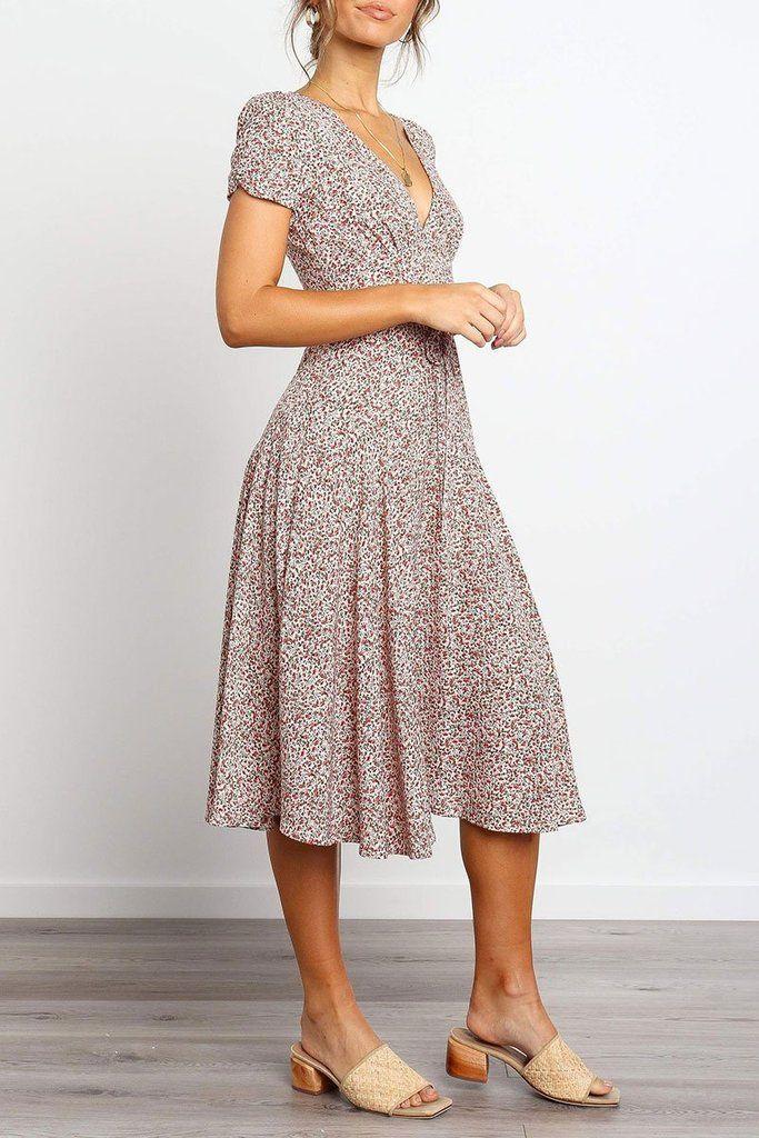 Sweet Floral Printed Knee Length Dress  Dress