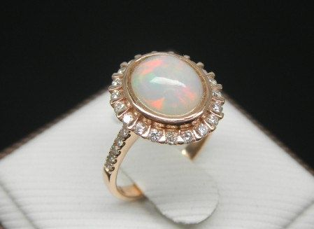 Engagement Ring 3 Carat Opal Ring With Diamonds by stevejewelry, $999.00