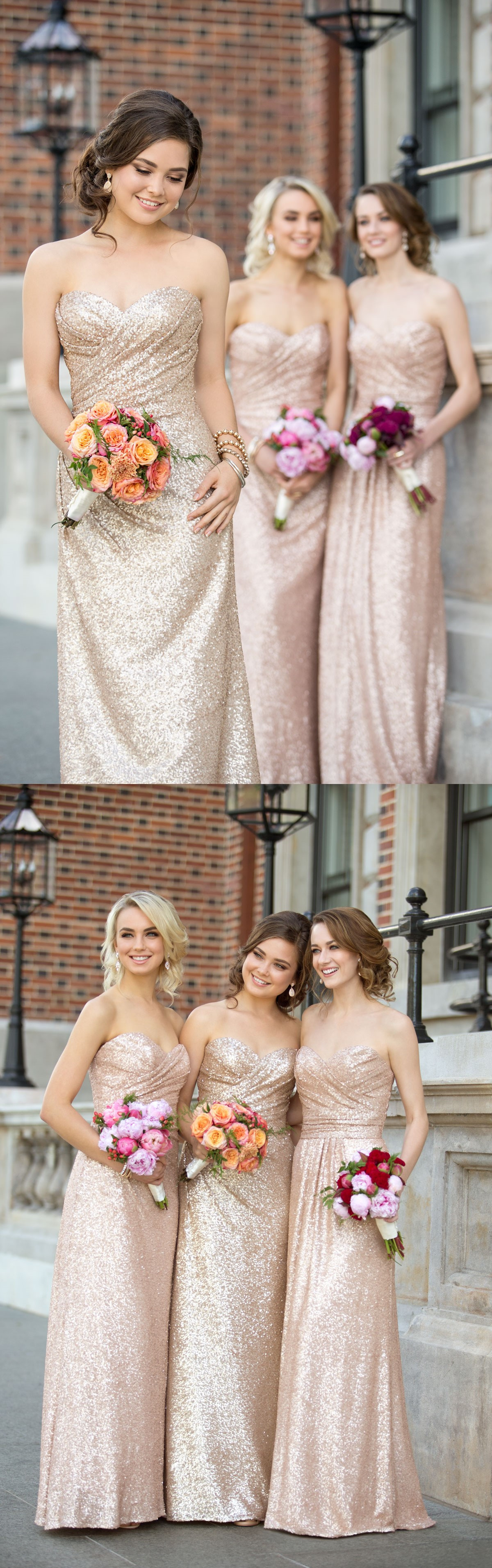 Sparkly strapless rose gold long sequins bridesmaid dress from sparkly strapless rose gold long sequins bridesmaid dress from modsele ombrellifo Images